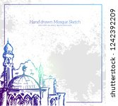 hand drawn mosque sketch... | Shutterstock .eps vector #1242392209