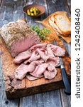 traditional lunch meat with... | Shutterstock . vector #1242408460