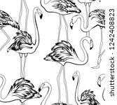 exotic flamingos flamboyance... | Shutterstock .eps vector #1242408823