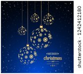 christmas background with balls ... | Shutterstock .eps vector #1242412180