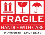 sticker  fragile   handle with... | Shutterstock .eps vector #1242418159