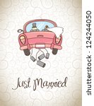 just married over vintage... | Shutterstock .eps vector #124244050