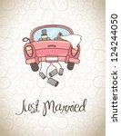 just married over vintage... | Shutterstock .eps vector #124244050