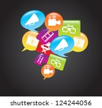 cinema icons over comic cloud...   Shutterstock .eps vector #124244056