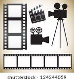 cinema icons over white... | Shutterstock .eps vector #124244059