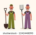 cute worker holding pitchfork... | Shutterstock .eps vector #1242448090
