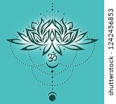big lotus flower with leaves ... | Shutterstock . vector #1242456853