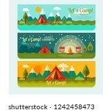 summer camping outdoor banner | Shutterstock .eps vector #1242458473