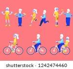 vector flat elderly man  woman...   Shutterstock .eps vector #1242474460