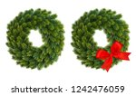 christmas wreath with red... | Shutterstock . vector #1242476059