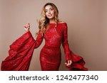 studio fashion portrait of...   Shutterstock . vector #1242477340