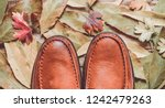 men's leather moccasins on a... | Shutterstock . vector #1242479263