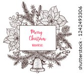 christmas greeting card. hand... | Shutterstock .eps vector #1242493306