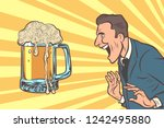 happy man and a mug of beer....   Shutterstock .eps vector #1242495880
