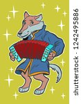 wolf plays accordion harmonica. ... | Shutterstock .eps vector #1242495886
