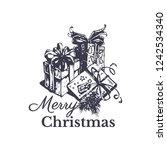 merry christmas vintage gift... | Shutterstock .eps vector #1242534340
