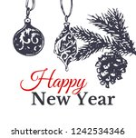 happy new year vintage gift... | Shutterstock .eps vector #1242534346