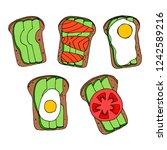 set of avocado toasts. vector... | Shutterstock .eps vector #1242589216