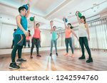 group of asian sporty people... | Shutterstock . vector #1242594760