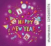 happy new year icon set with... | Shutterstock .eps vector #1242600376