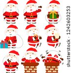 cute fat santa claus set | Shutterstock .eps vector #1242603253