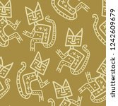 seamless monochrome pattern... | Shutterstock .eps vector #1242609679
