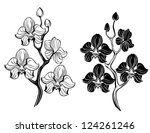 two artistically painted  black ... | Shutterstock .eps vector #124261246