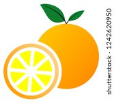 simple orange whole and slices... | Shutterstock .eps vector #1242620950