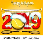 snowy new year numbers 2019 and ... | Shutterstock .eps vector #1242628069
