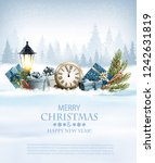 christmas holiday background... | Shutterstock .eps vector #1242631819