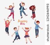 happy kids jumping over white... | Shutterstock .eps vector #1242646993