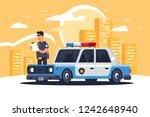 urban modern sedan police car... | Shutterstock .eps vector #1242648940