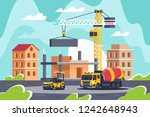 construction of big building... | Shutterstock .eps vector #1242648943
