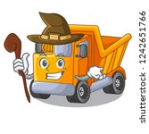 witch truck on highway road... | Shutterstock .eps vector #1242651766