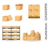 cardboard boxes carton... | Shutterstock .eps vector #1242653950