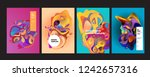 wavy geometric colorful... | Shutterstock .eps vector #1242657316
