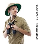 Young Man Wearing Safari Shirt...