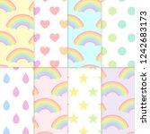 pastel patterns set illustration   Shutterstock . vector #1242683173