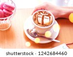 coffee cappuccino with a...   Shutterstock . vector #1242684460
