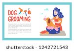 Stock vector cute dog at groomer salon vector illustration for pet hair salon styling and grooming shop pet 1242721543