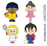 children dressed as athletes | Shutterstock .eps vector #124272424