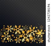 shiny golden snowflakes and... | Shutterstock .eps vector #1242738196