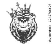 vintage royal bear head in... | Shutterstock .eps vector #1242766609