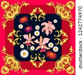 silk scarf with baroque motifs. ...   Shutterstock .eps vector #1242774970