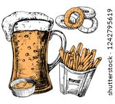 hand drawn glass of beer and... | Shutterstock .eps vector #1242795619