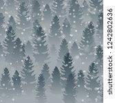 hello winter forest landscape...   Shutterstock .eps vector #1242802636