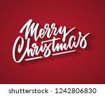 merry christmas hand written... | Shutterstock .eps vector #1242806830