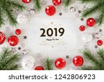 2019 greetings card on white... | Shutterstock . vector #1242806923