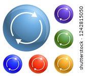 round circle arrow icons set...
