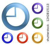 chart pie icons set vector 6...